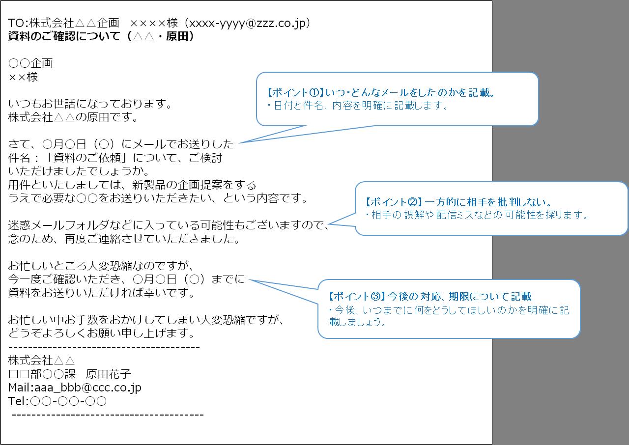 文例 テスト メール